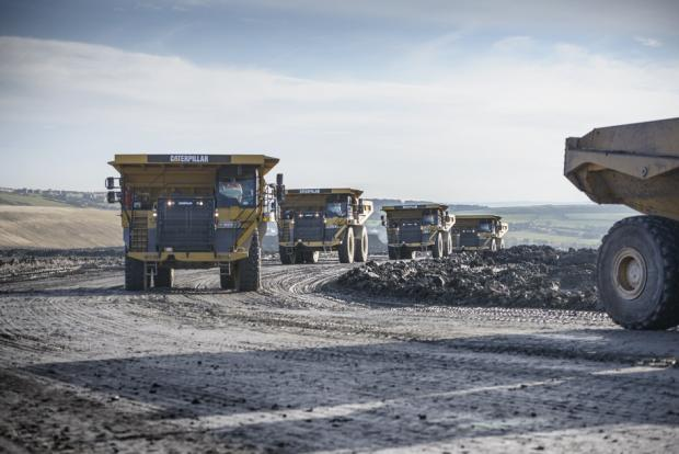 HeraldScotland: COAL INDUSTRY: Wagons carry coal away from Park Wall North opencast mine
