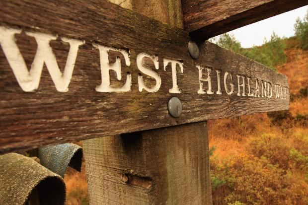 HeraldScotland: TYNDRUM, UNITED KINGDOM - OCTOBER 26:  A view of a West Highland Way sign post in the Loch Lomond National Park on October 26, 2011 in Tyndrum, Scotland. The park authority have approved plans for the development of Scotland's first commercial Gold mi