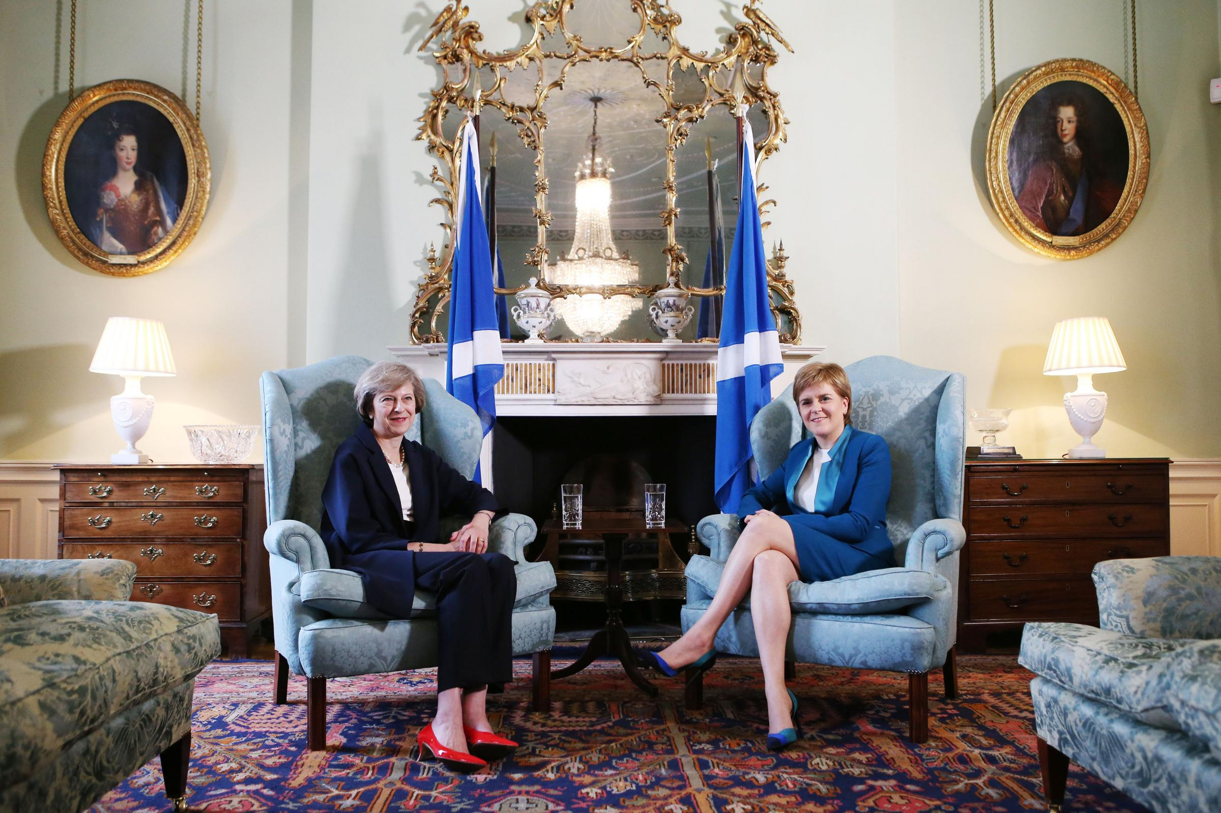 Prime Minister Theresa May (left) meets with Scotland's First Minister Nicola Sturgeon at Bute House in Edinburgh. PRESS ASSOCIATION Photo. Picture date: Friday July 15, 2016. See PA story POLITICS Conservatives. Photo credit should read: Andrew Milli