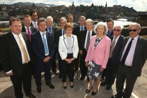 ADVISORS: First Minister Nicola Sturgeon with members of the Standing Council for Europe. Retired diplomat Lord John Kerr of Kinlochard is on the extreme right. Picture: Gordon Terris