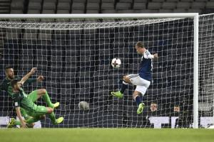 Scotland's Leigh Griffiths missed an open goal against Slovenia.