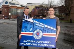 Rangers player Andy Halliday and managing director Stewart Robertson launch the Ibrox club's new community engagement programme.