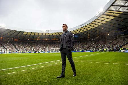 HeraldScotland: Celtic manager Brendan Rodgers after the 1-0 win against Rangers in the League Cup semi final. Picture: SNS