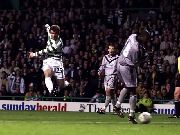 HeraldScotland: 09/11/00 UEFA CUP 2ND RND 2ND LEGCELTIC V BORDEAUX (1 - 2 AET) (2 - 3 AGG)CELTIC PARK - GLASGOWLubo Moravcik fires the ball home to open the scoring for Celtic