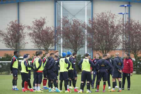 HeraldScotland: Rangers manager Pedro Caixinha speaks with his squad at training..