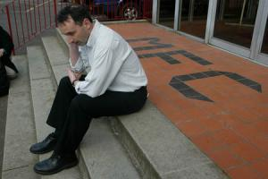 24/04/02Motherwell's Director of Football Pat Nevin outside Fir Park after resigning.
