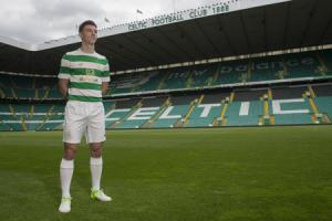 22/05/17 . CELTIC PARK - GLASGOW . Celtic's Kieran Tierney is on hand to promote the club's new kit, which will go on sale Tuesday 23rd of May.