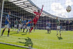 GOAL OF THE CENTURY: David Gray's powerful header in stoppage time flies high past the diving Wes Foderingham to end 114 years of hurt for the Easter Road club. Pictures SNS