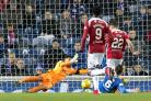 Hamilton's Darren Lyon scores the clinching second goal during the Ladbrokes Scottish Premiership match at Ibrox. Picture: PA