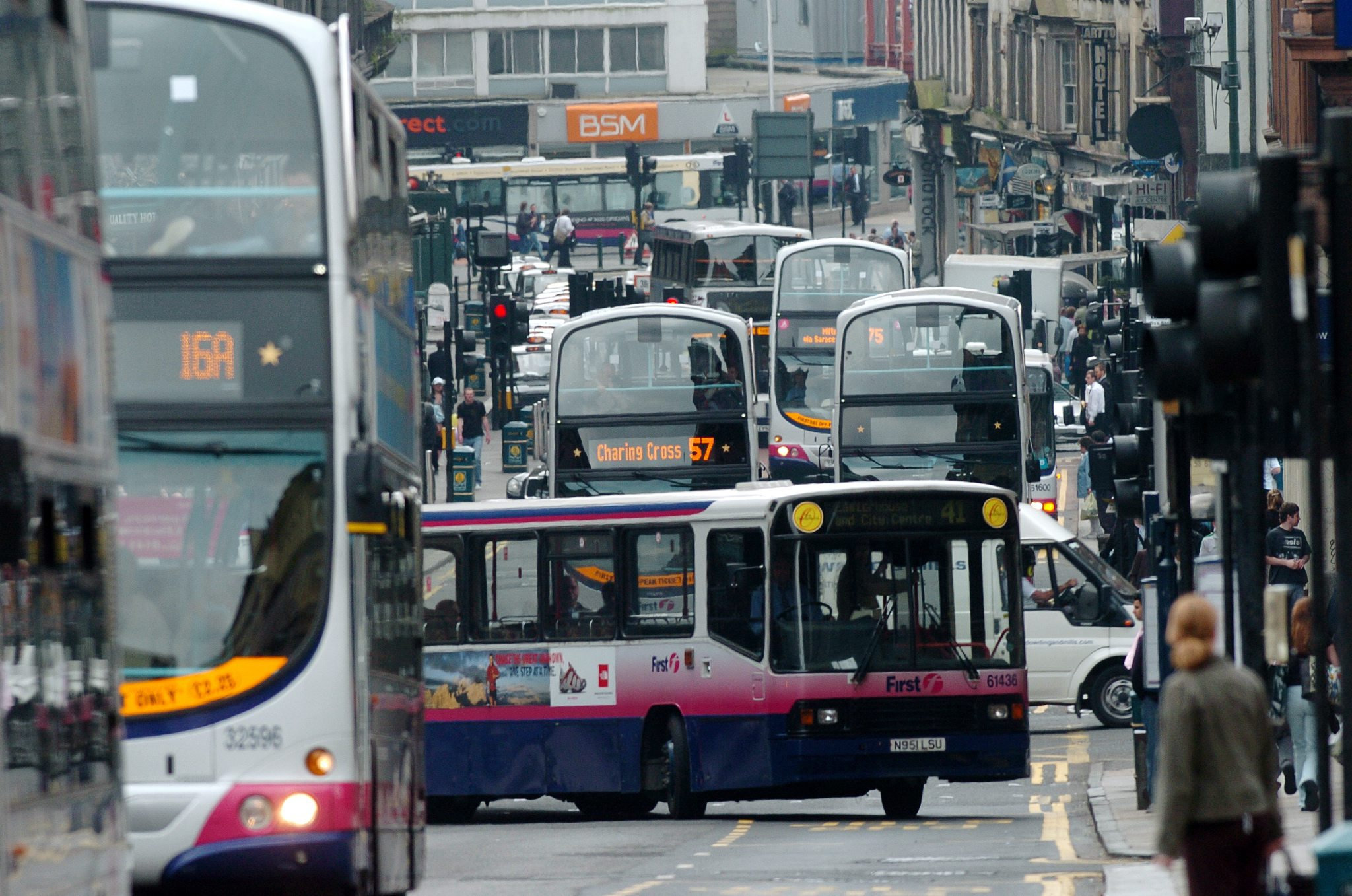 View showing buses queing in Hope street - the most polluted street in Scotland..