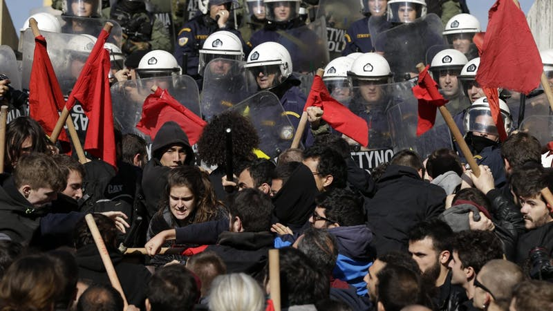 Police clash with protesters in Athens amid anti-austerity strikes
