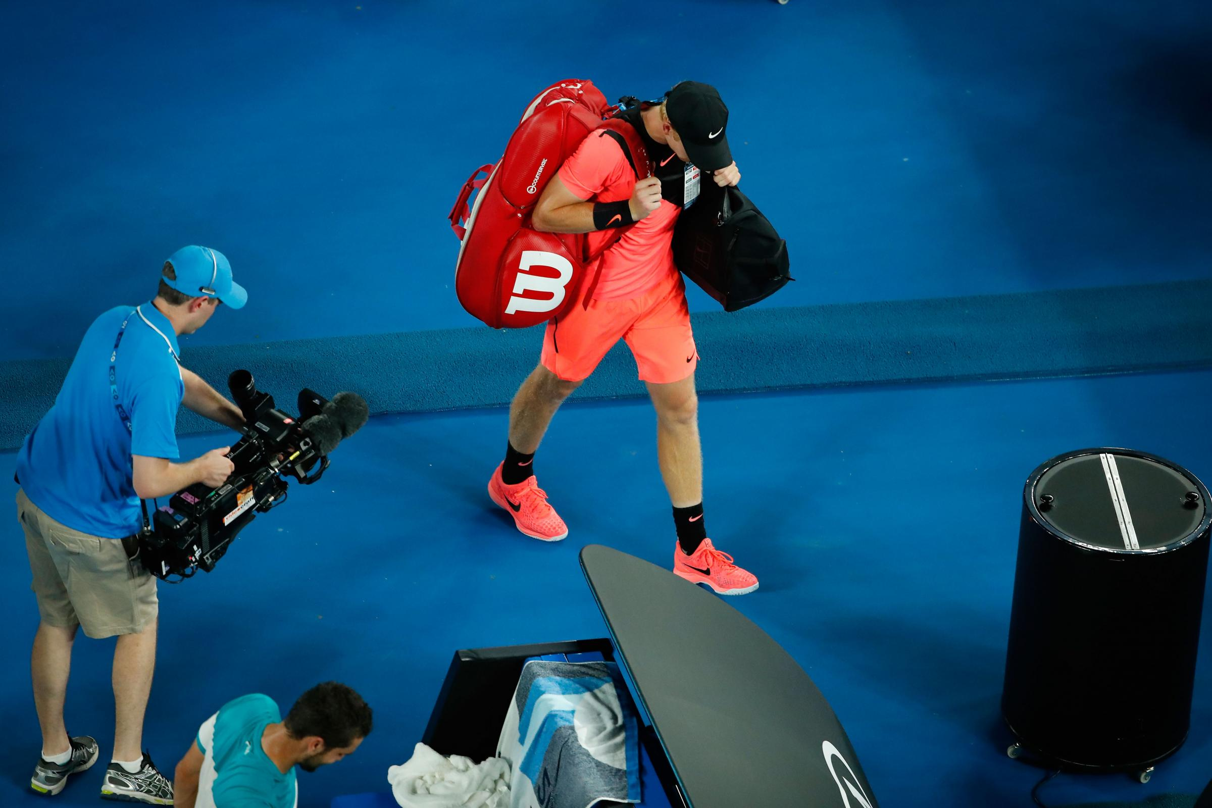 Kyle Edmund walks off the court after losing his semi-final match against Marin Cilic. Picture: Getty