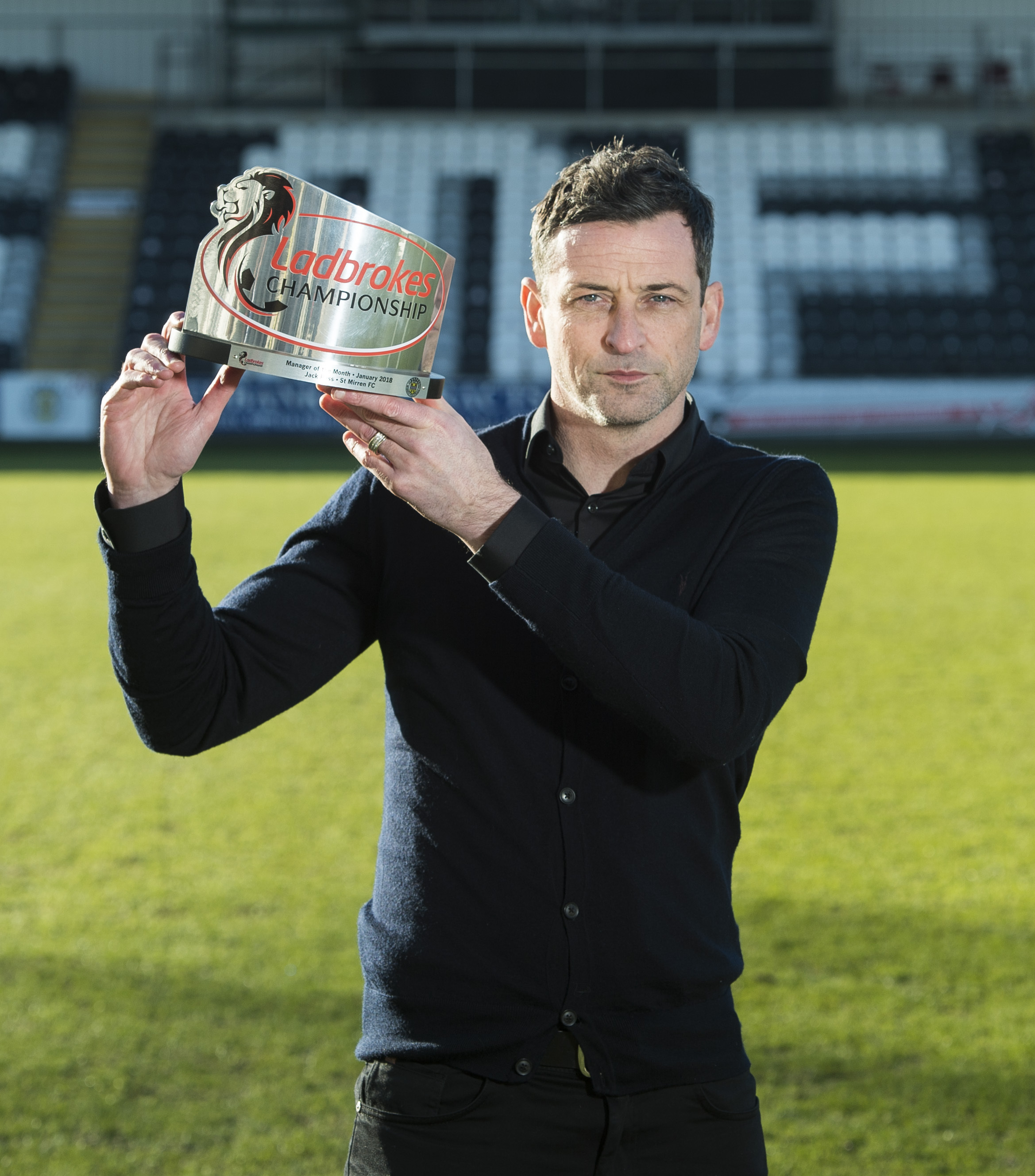 06/02/18 . PAISLEY 2021 STADIUM - PAISLEY. St Mirren manager Jack Ross wins the Ladbrokes Championship Manager of the Month Award for January.