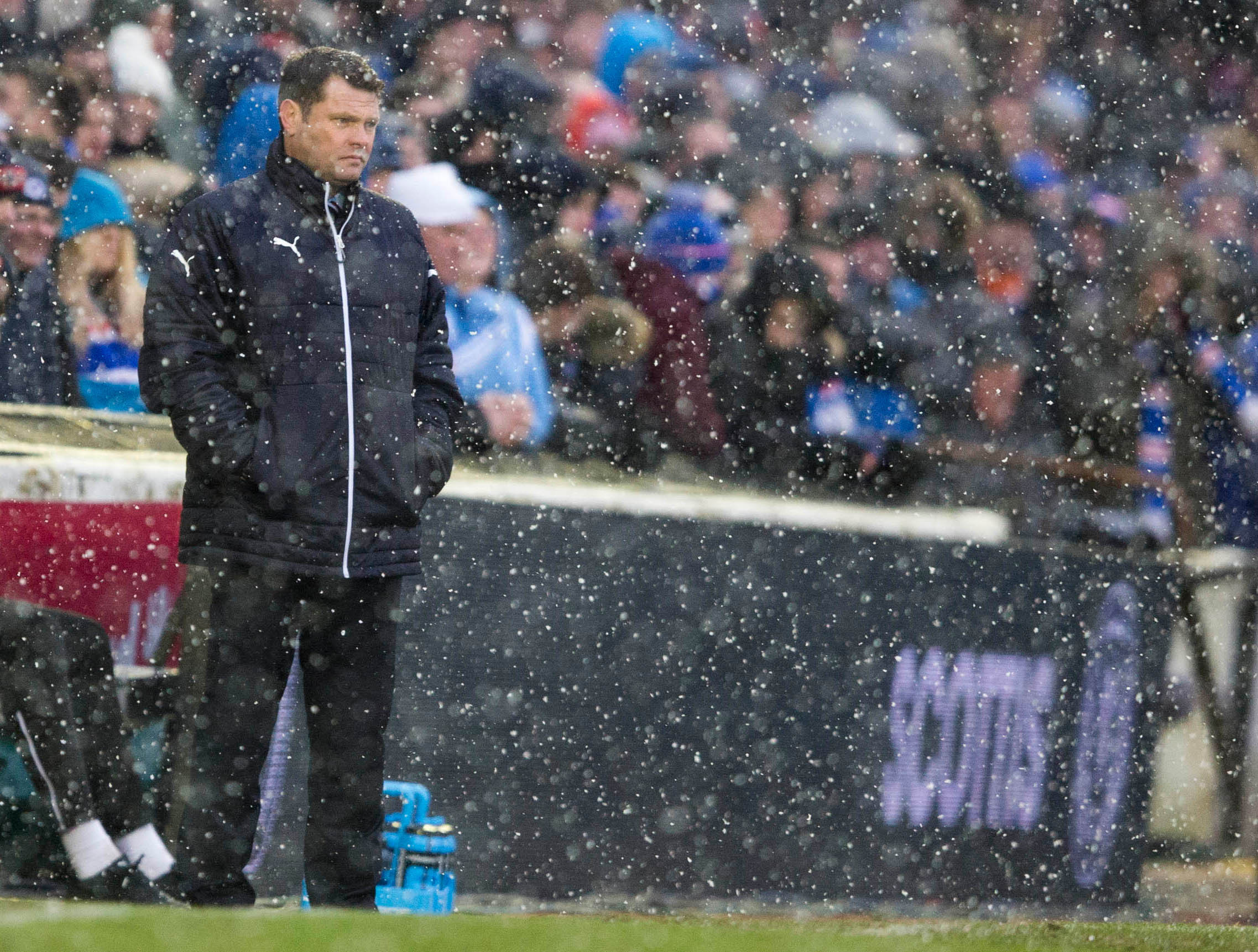 Rangers manager Graeme Murty had to stand in a blizzard as his side defeated Ayr United
