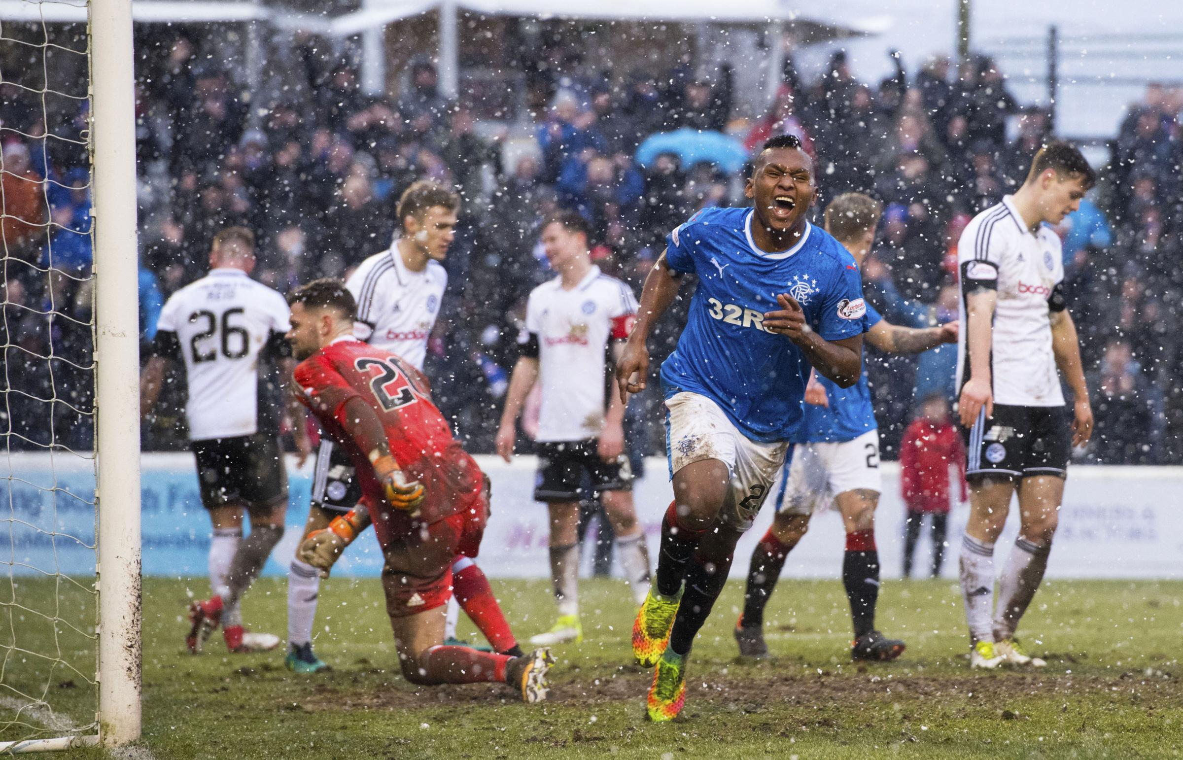 Alfredo Morelos celebrates his second and Rangers' fifth in his side's win at Ayr United