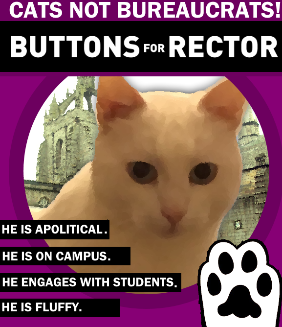Buttons the cat loses appeal to become a Scots university Rector candidate despite top author support