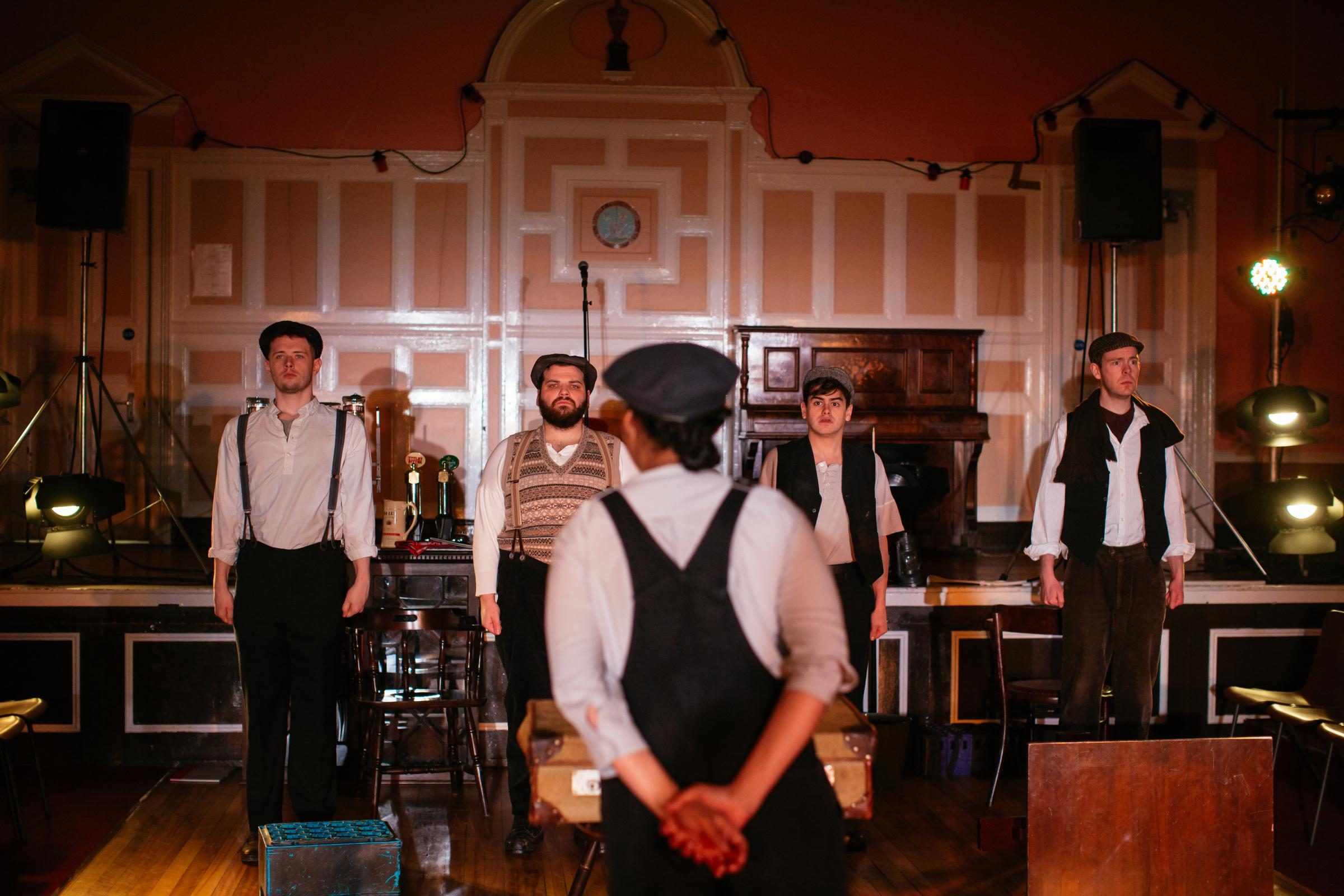 Robbie Gordon, Josh Whitelaw, Jamie Marie Leary, Cristian Ortega and Martin Donaghy in 549-Scots of the Spanish Civil War. Photography by Jassy Earl