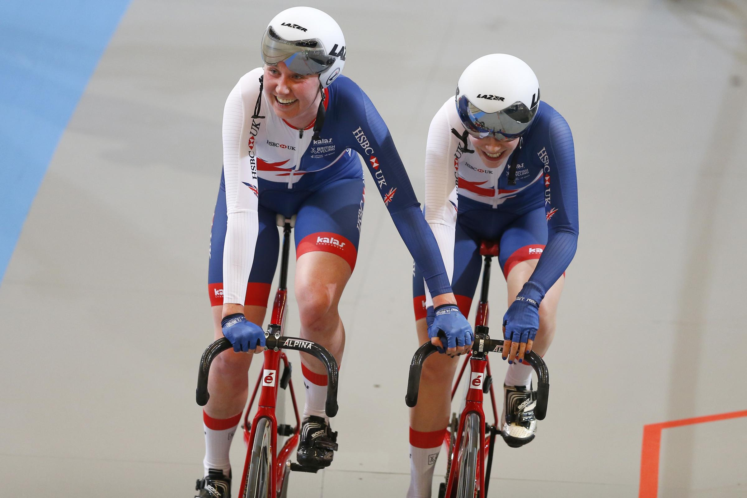 Katie Archibald, left, and Emily Nelson won World Championships gold in the Netherlands (Picture: AP Photo/Peter Dejong)