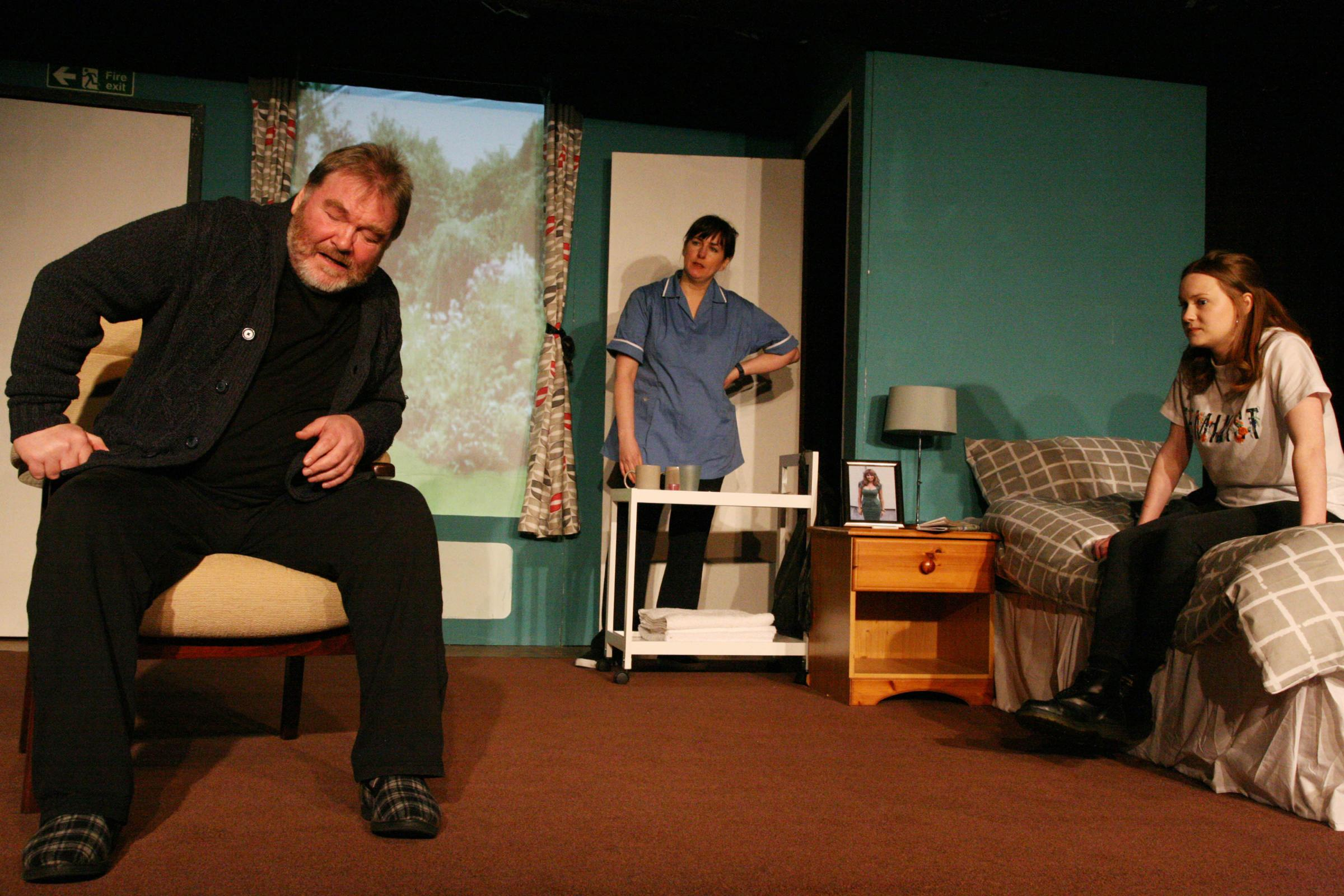 William McBain (Jimmy), Louise Montgomery (Christine) and Rebekah Lumsden (Orwell) in The Greatest at Oran Mor, Glasgow