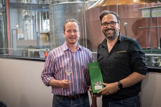 Alex Bruce of Adelphi with David Vitale of Starward Distillery sample The Brisbane whisky. Picture: Andrew Ashton.