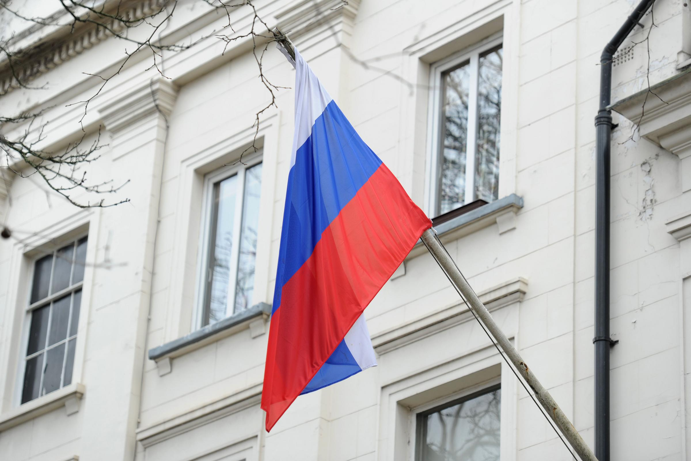 The Russian flag outside the Russian Embassy in London yesterday.Picture: Kirsty O'Connor/PA Wire