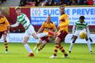 Celtic centre half Jack Hendry watches his shot goes wide at Fir Park yesterday.