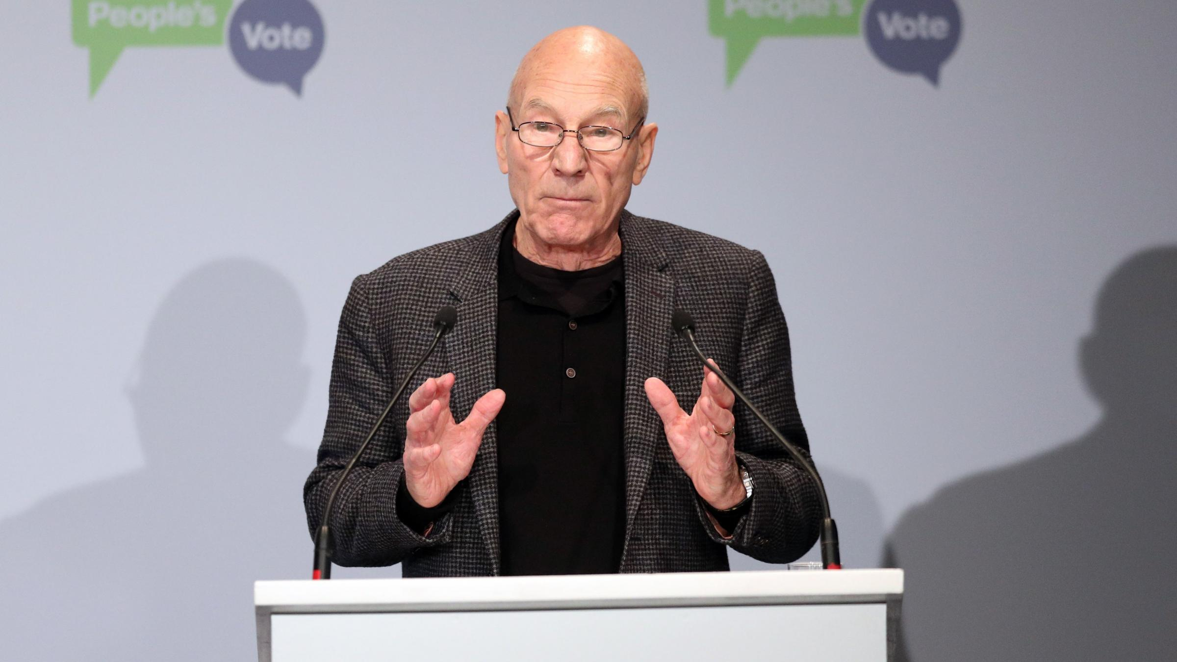 Sir Patrick Stewart lends voice to demands for another referendum