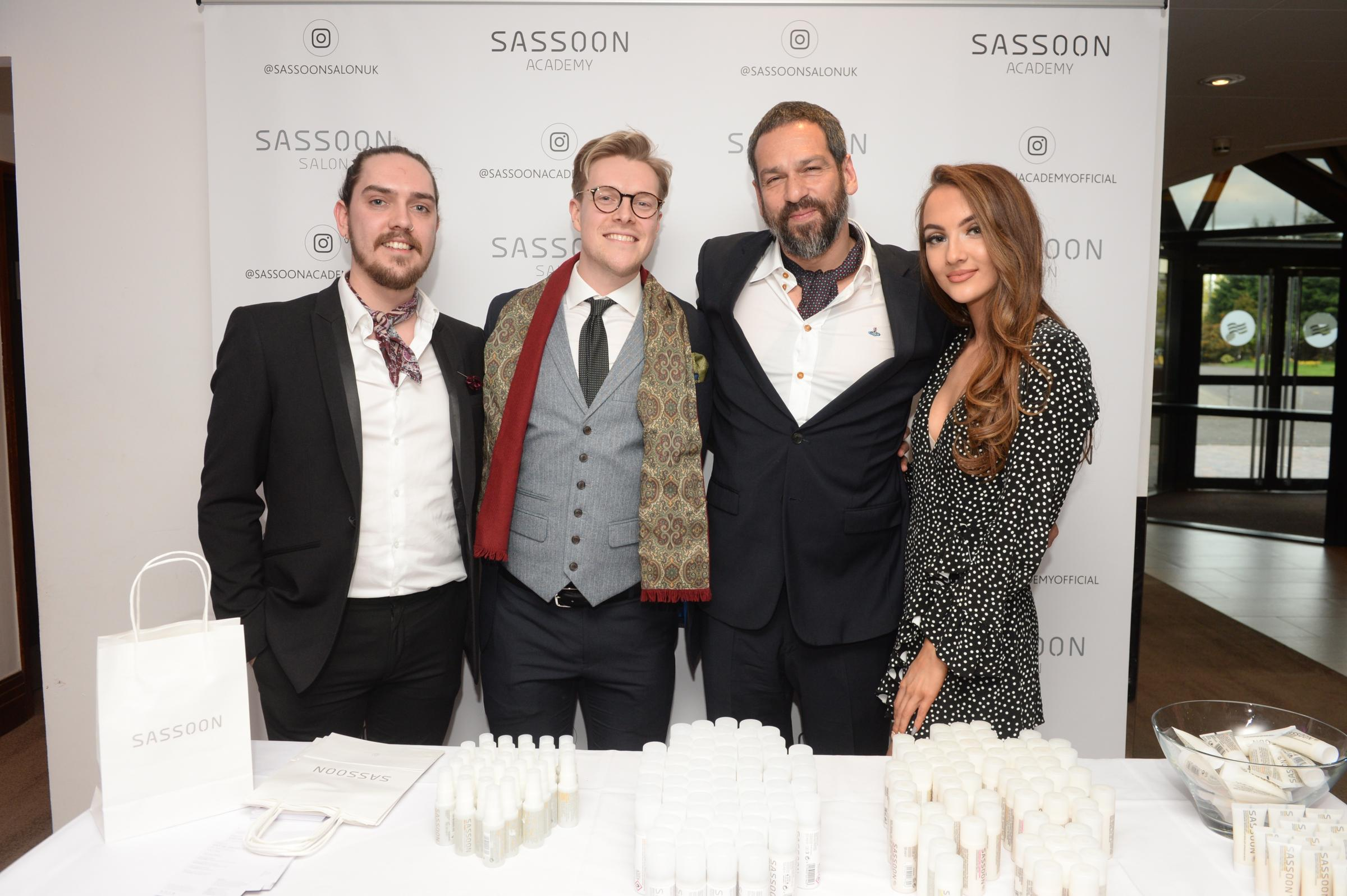 Sharz Din, second from right, of Vidal Sassoon, celebrates winning the Outstanding Contribution of the Year prize at the 2018 Look Awards. He is pictured with Martin Collins, left, Stephen Doran and Katy Craig. Picture: Kirsty Anderson / Herald & Times.