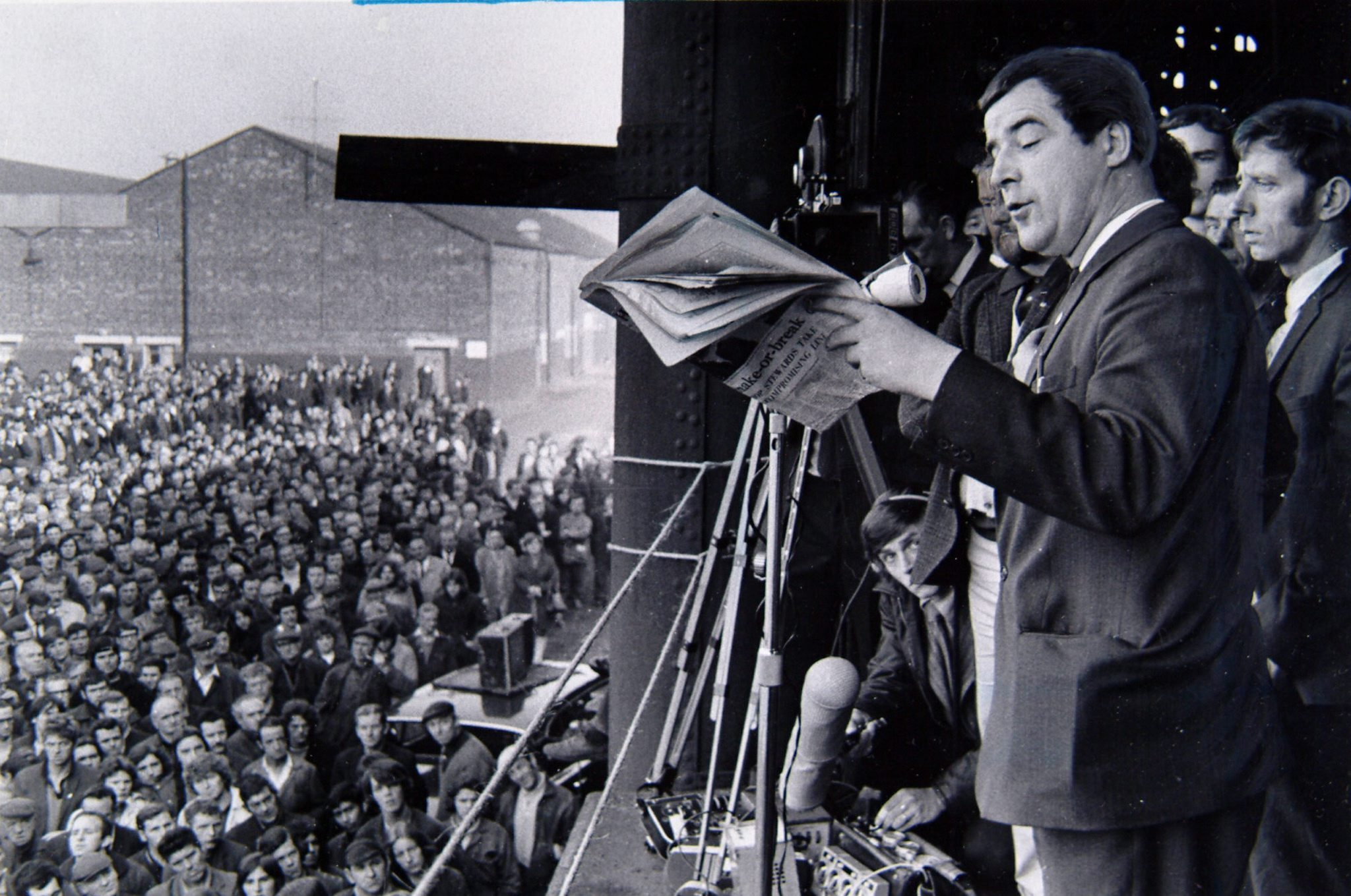 Jimmy Airlie, chairman of the UCS shop stewards, quotes from the Glasgow Herald while addressing the workers at Govan on September 24, 1971.Picture: Edward Jones