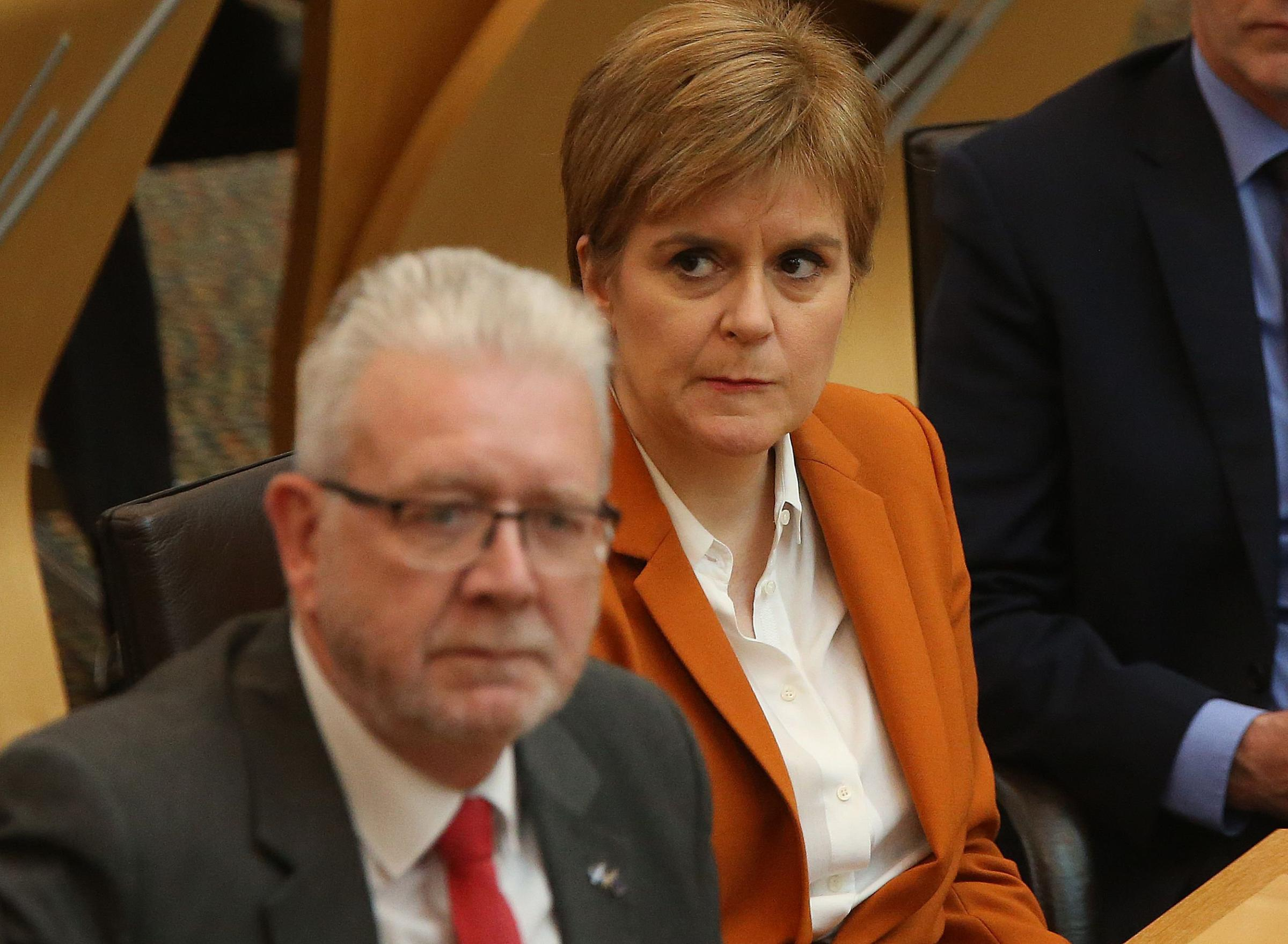 Scottish Brexit Minister Michael Russell and First Minister Nicola Sturgeon during the Brexit debate at Holyrood on TuesdayPicture: Gordon Terris