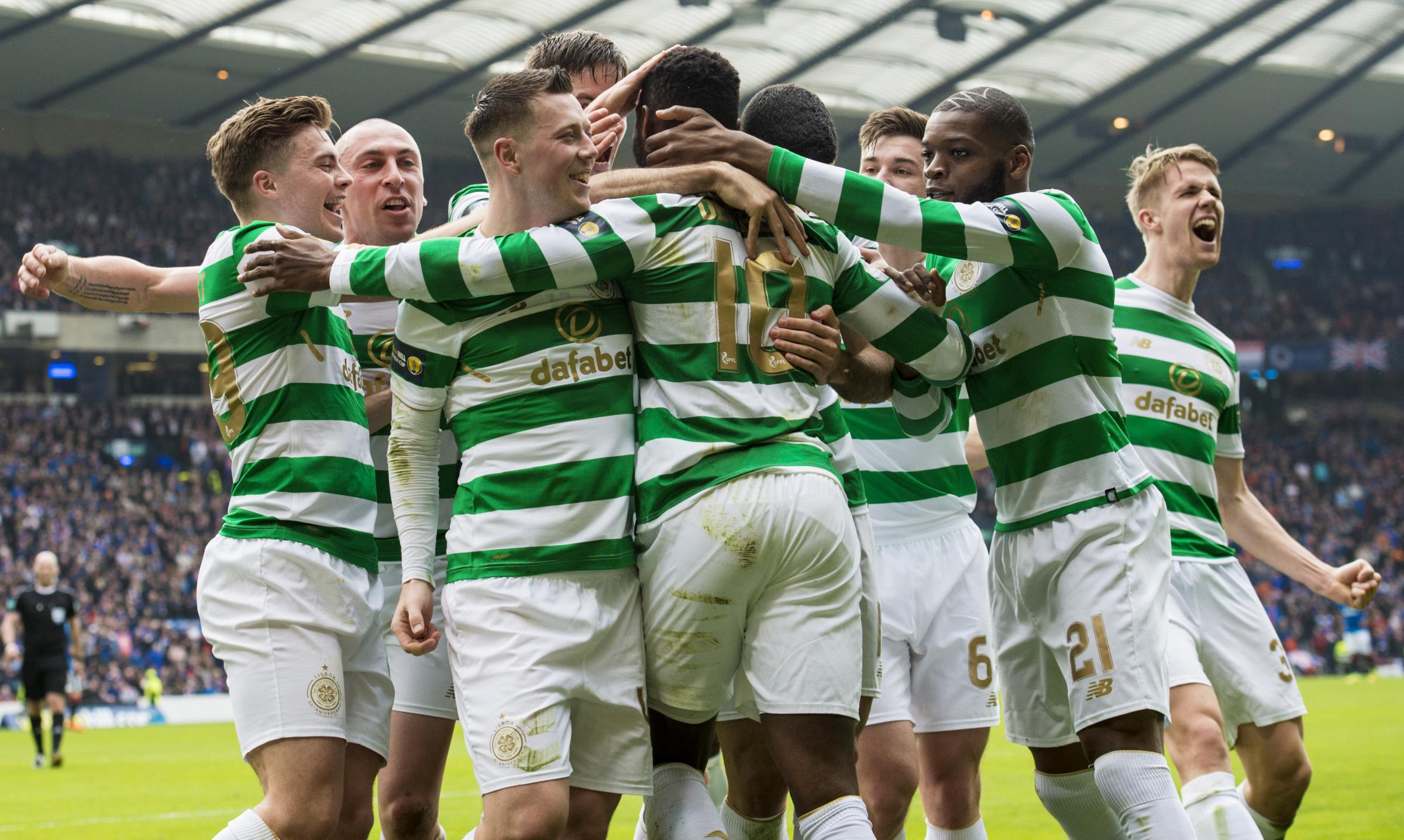 Celtic celebrate after scoring. Picture: SNS.