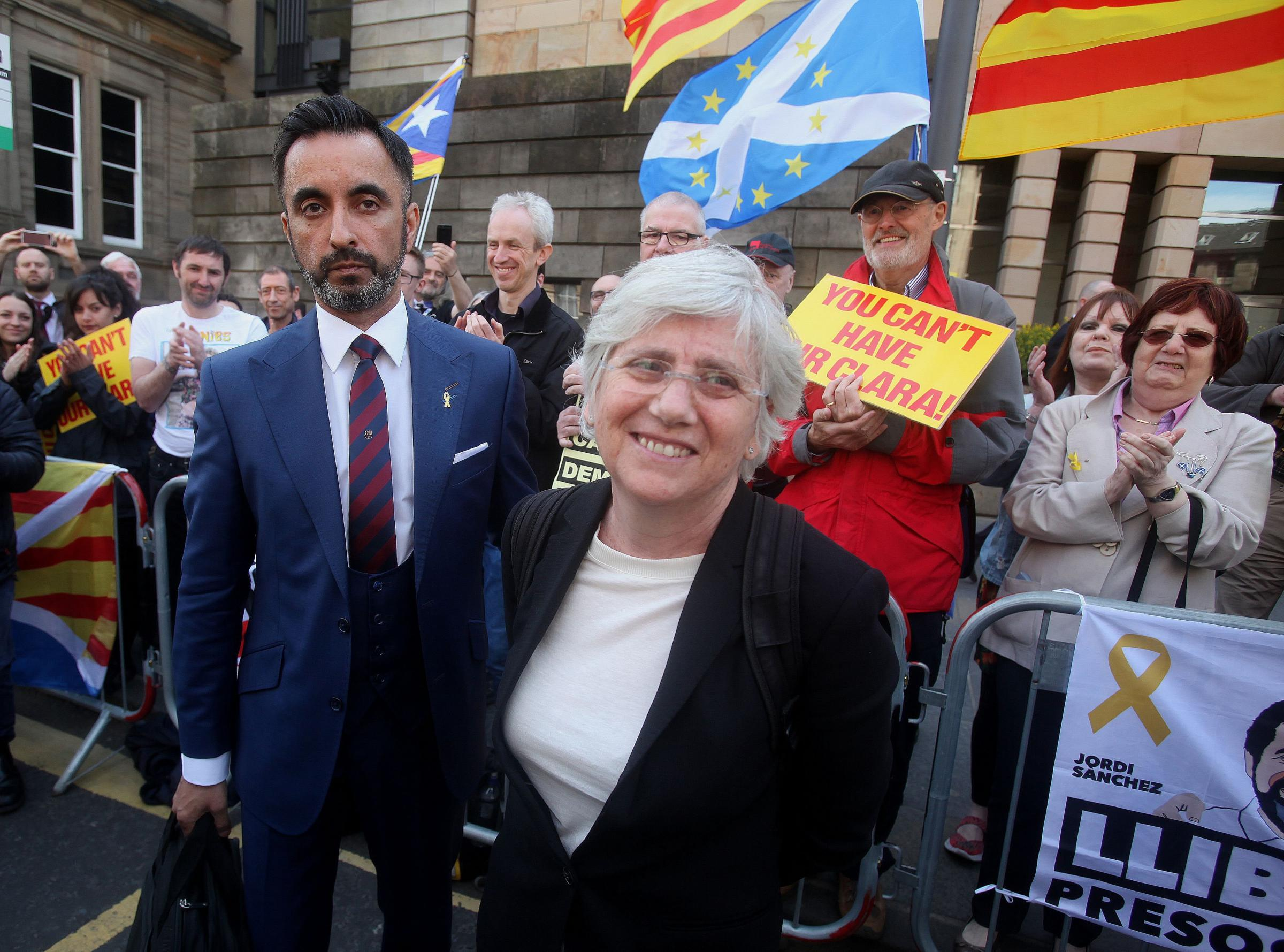 Clara Ponsati and lawyer Aamer Anwar in Edinburgh