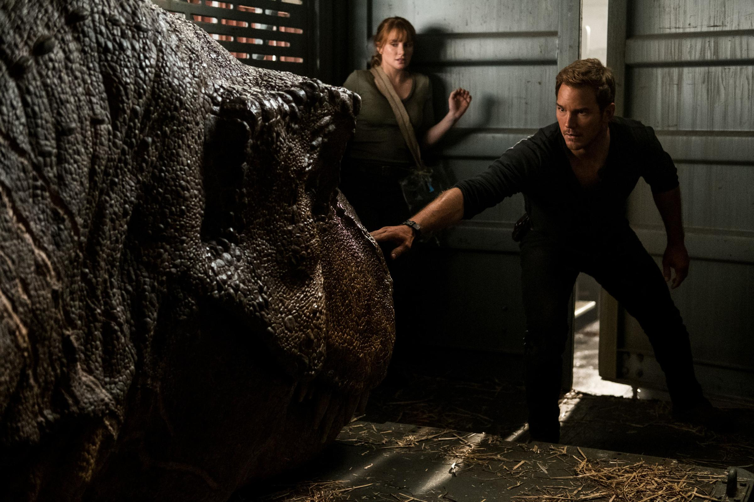Undated film still handout from Jurassic World: Fallen Kingdom. Pictured: Bryce Dallas Howard as Claire Dearing and Chris Pratt as Owen Grady. See PA Feature SHOWBIZ Film Reviews. Picture credit should read: PA Photo/Universal Pictures/Giles Keyte. WARNIN