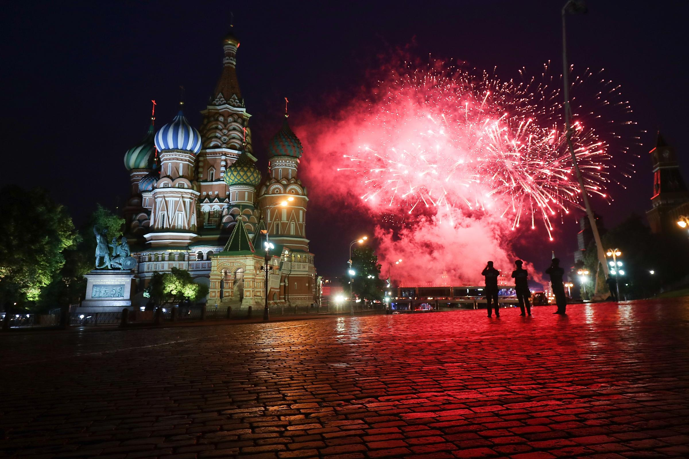 Explosive stuff: Fireworks light up Red Square ... but will there be fireworks when Russia play Saudi Arabia ? (Picture: Getty)