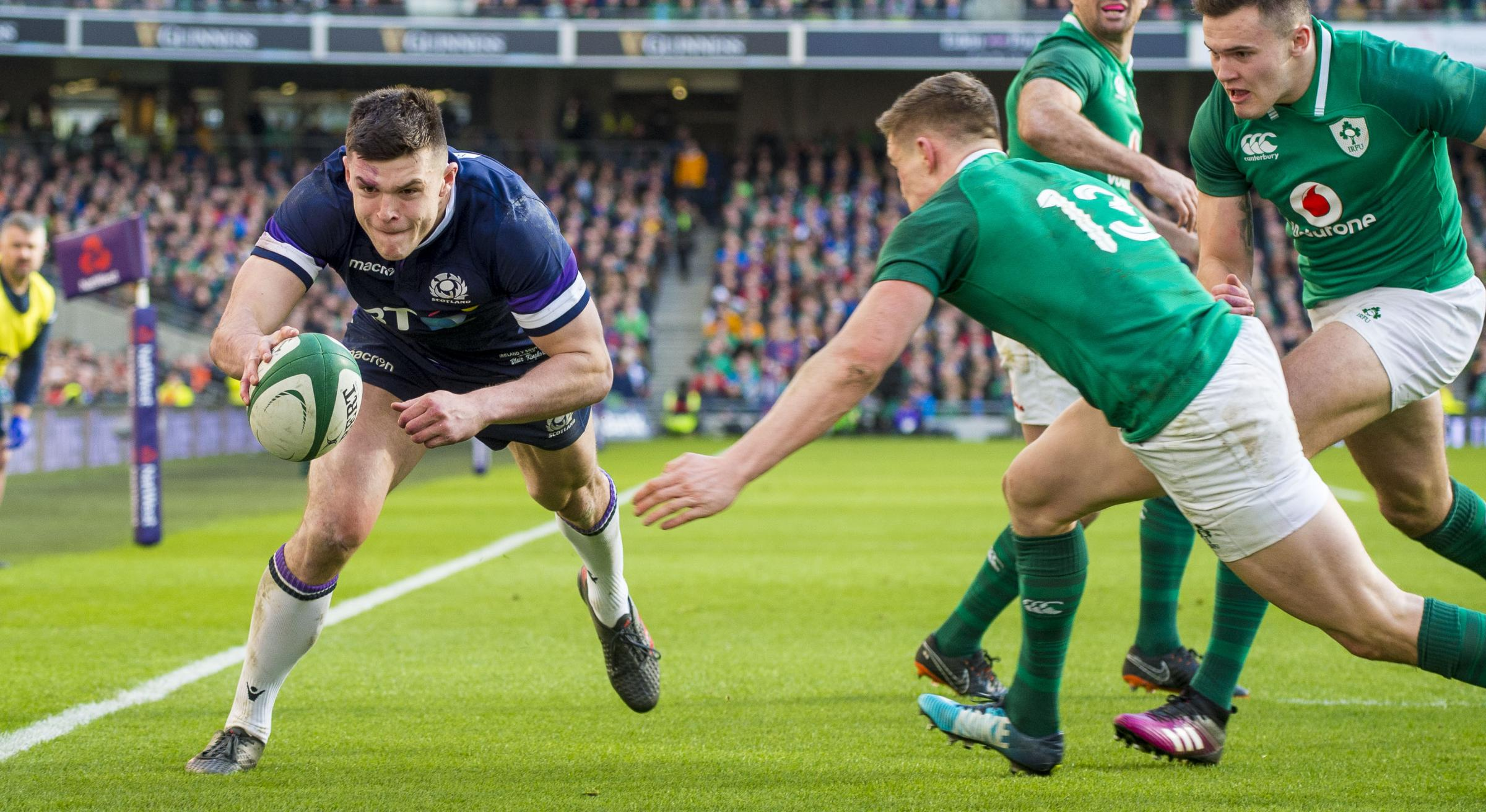 Blair Kinghorn in action for Scotland against Ireland during the Six Nations