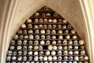 The crypt with ancient skulls on display before the thieves struck.