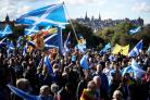 Pro-independence supporters march through Edinburgh