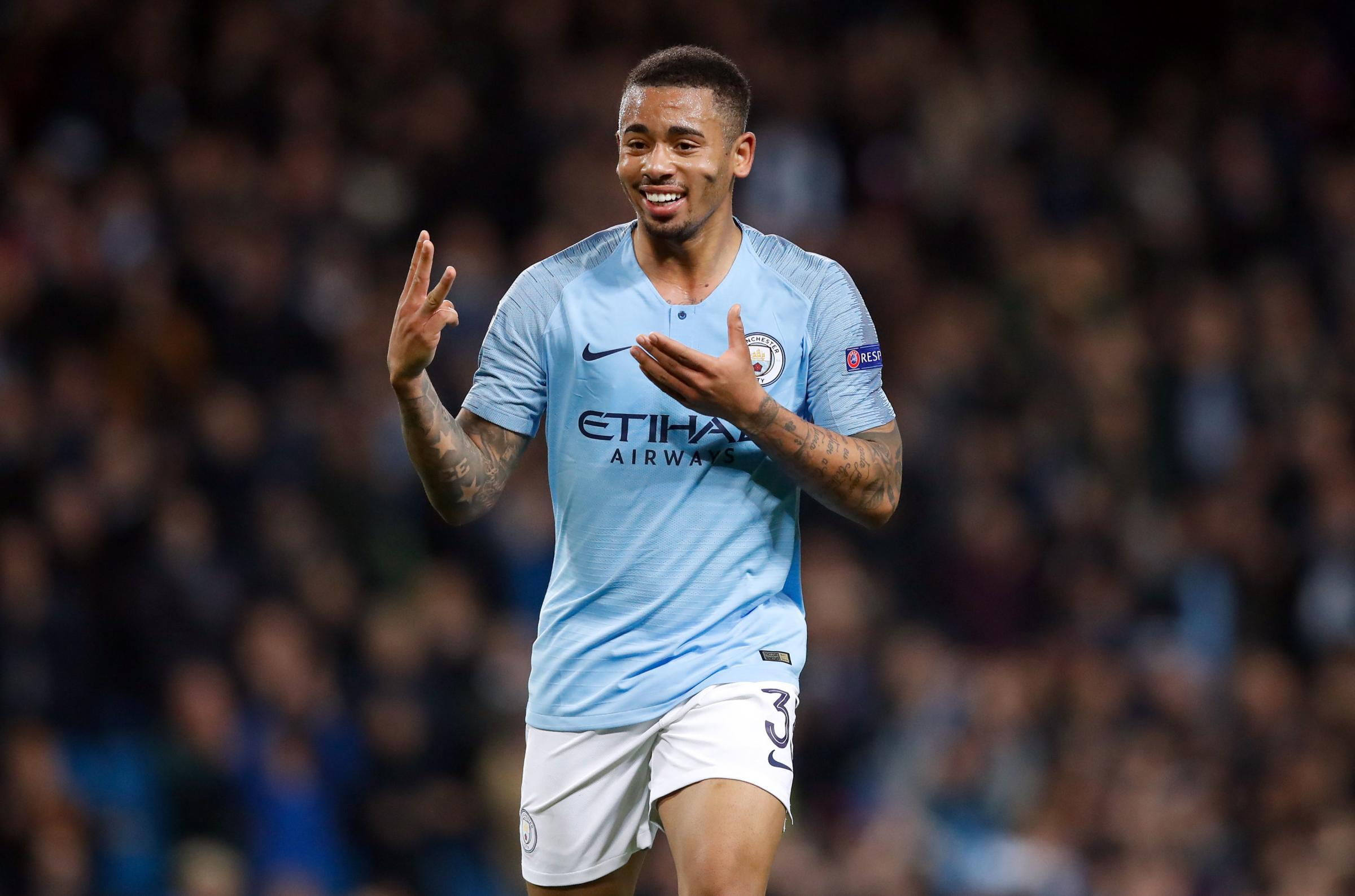 Manchester City's Gabriel Jesus celebrates scoring his side's sixth goal of the game and completing his hat-trick during the UEFA Champions League match at the Etihad Stadium, Manchester. PRESS ASSOCIATION Photo. Picture date: Wednesday November 7