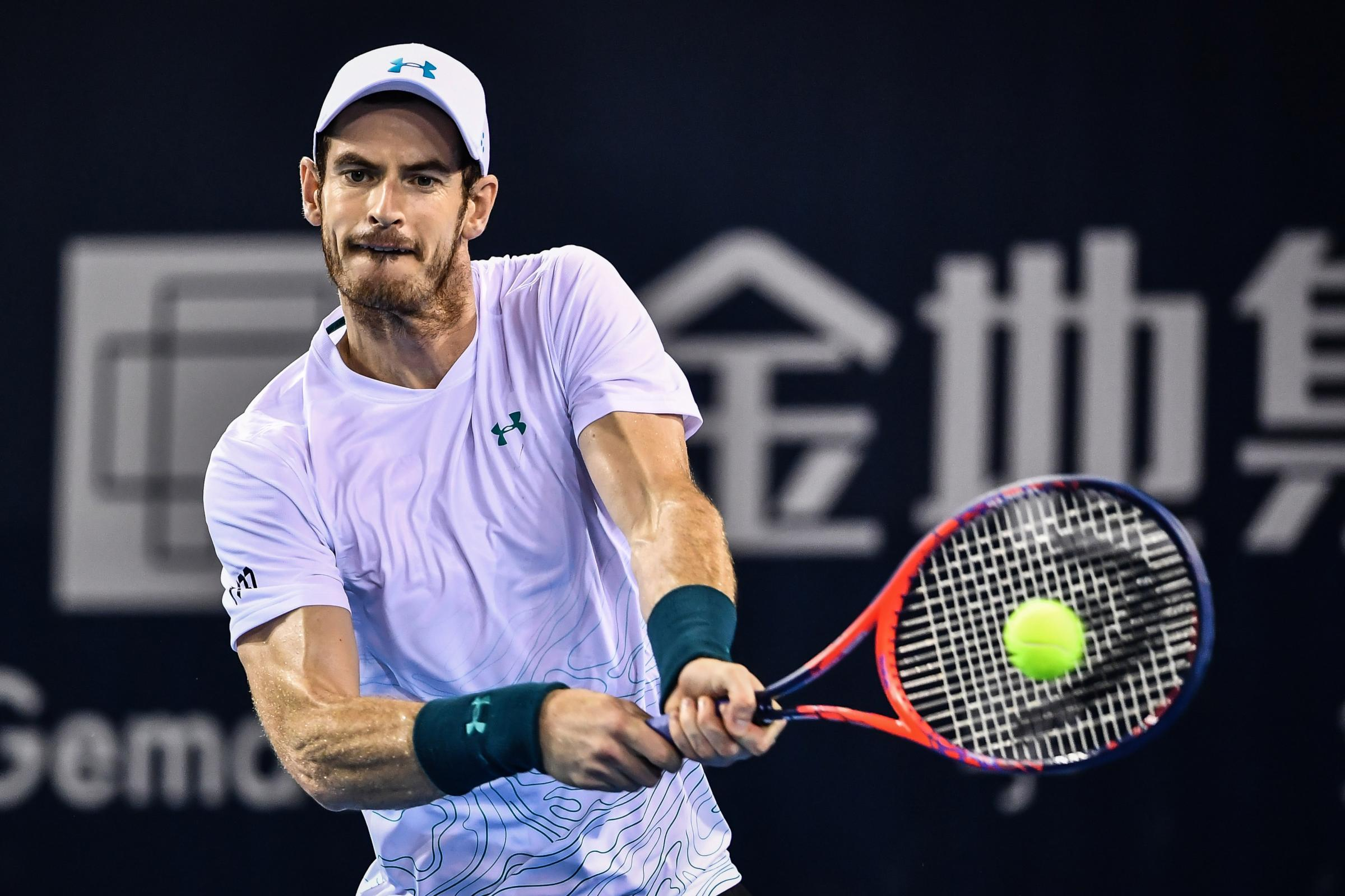 Andy Murray of Britain hits a return during his men's singles match against Fernando Verdasco of Spain at the ATP Shenzhen Open tennis tournament in Shenzhen, in south China's Guangdong province on September 28, 2018. (Photo by - / AFP) / China OU