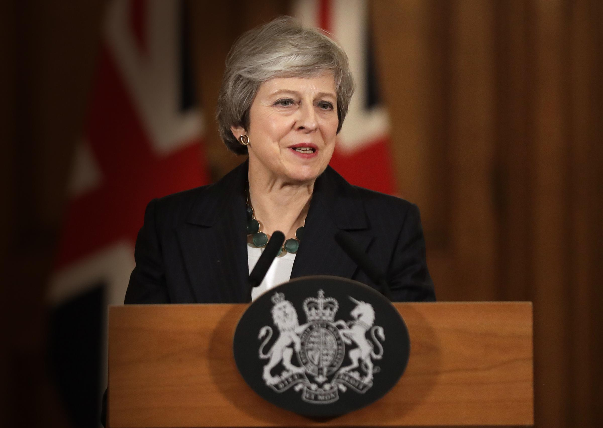 Prime Minister Theresa May answers questions during Thursday's press conference.