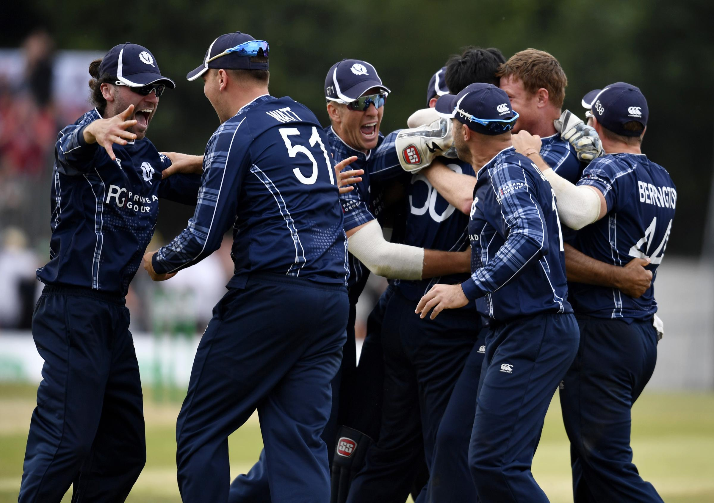 Scotland celebrate after beating England by six runs last June